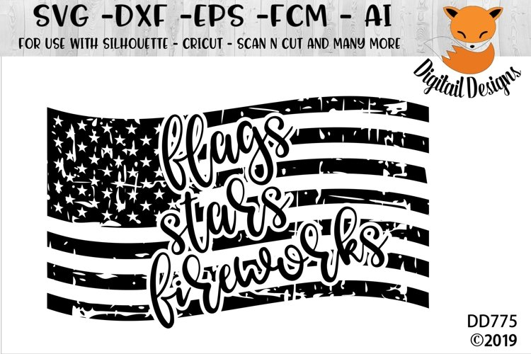 Distressed Flag Fireworks Freedom SVG