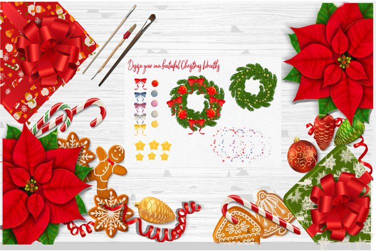 Decorated Vector Christmas Wreaths example image 1
