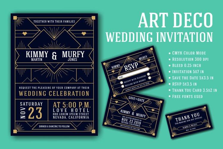 Art Deco Wedding Invitation Card Template