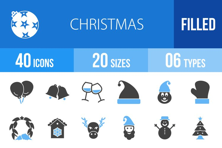 40 Christmas Filled Blue & Black Icons example image 1