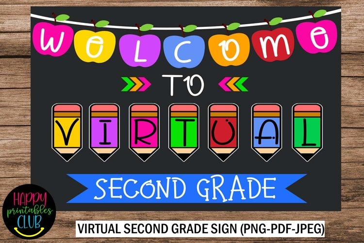 Welcome to Virtual Second Grade Sign- Second Grade First Day example image 1