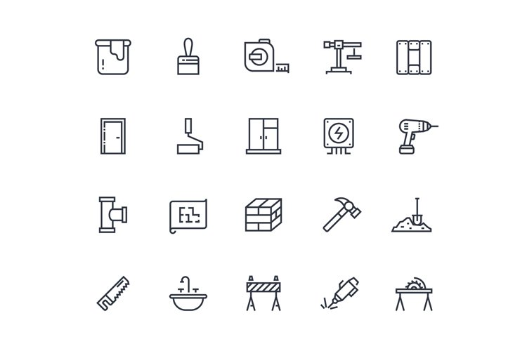 Build line icons. Home construction materials, digging and p example image 1