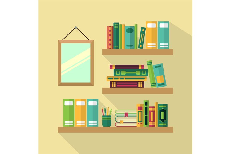 Wood bookshelf in library with different books. Vector illus example image 1