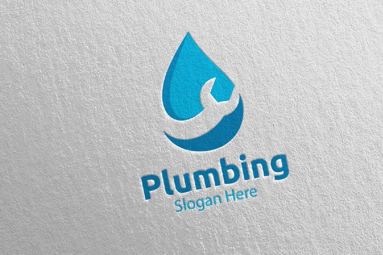 Plumbing Logo with Water and Fix Home Concept 42 example image 1