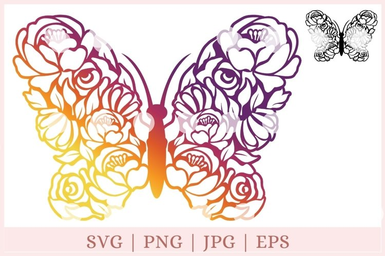 Floral Butterfly SVG, Butterfly and Flowers SVG, wildflower example image 1