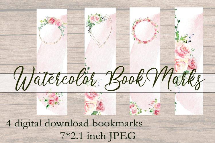 Printable Bookmarks Peonies Watercolor