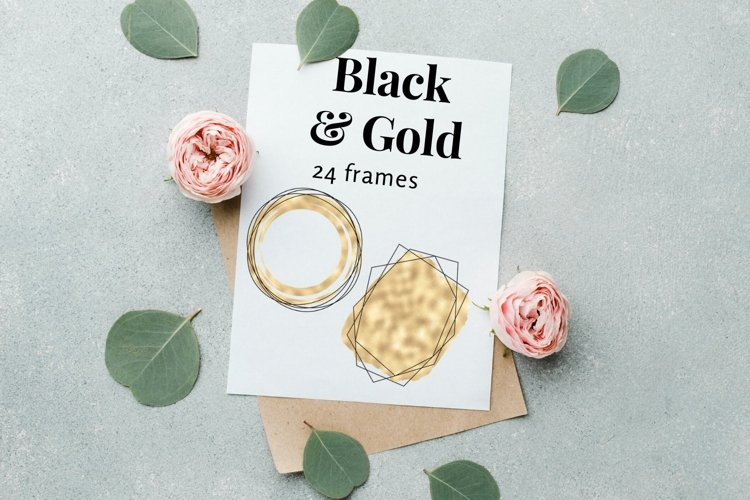 Black Gold Polygonal Frames, Watercolor Black and Gold Logo example image 1