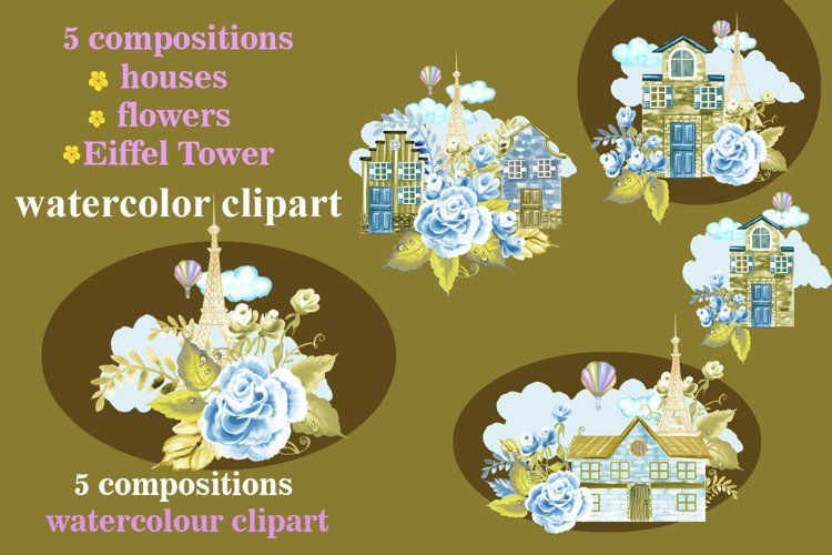 Houses watercolor clipart, Cute houses, Eiffel Tower, flower