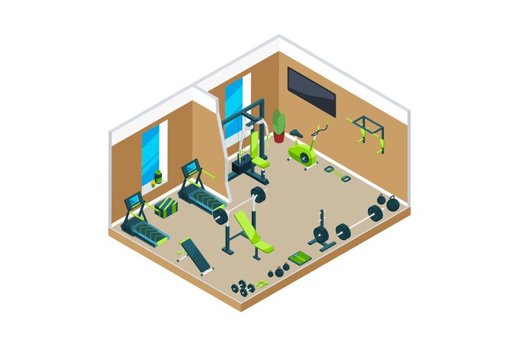 3D isometric illustrations of gym with different sport equip example image 1