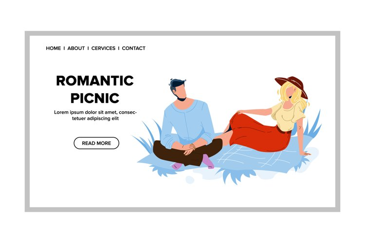Romantic Picnic Dating Man And Woman Couple Vector example image 1