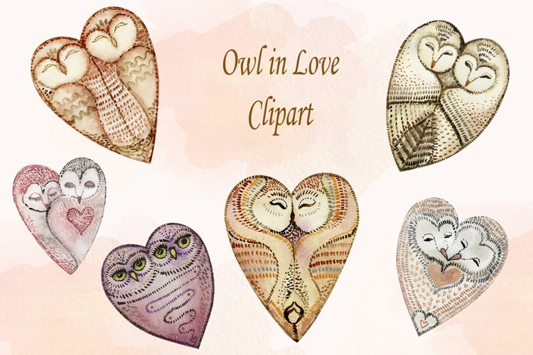 Watercolor Owl in Love Clipart png, Valentine Clipart, Heart example image 1