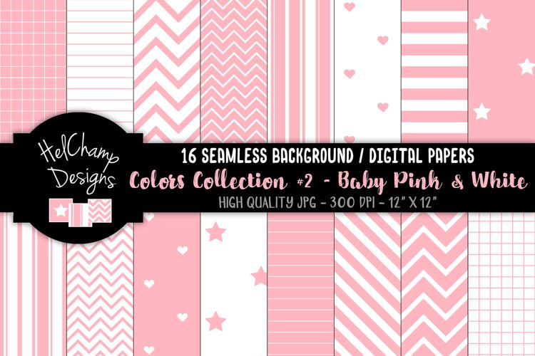 16 seamless Digital Papers - Baby Pink and White- HC145
