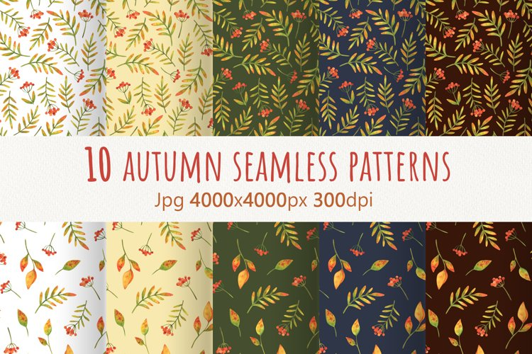Autumn plants.Collection of watercolor seamless patterns example image 1