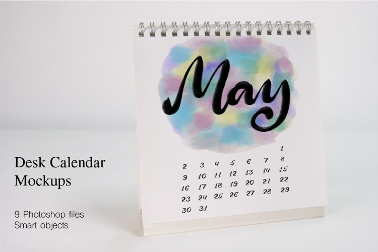 Desk Calendar Mockups. 9 PSD files with smart objects. example image 1