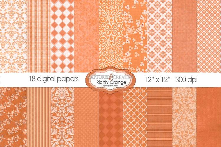 18 Richly Orange Digital Paper Pack example image 1