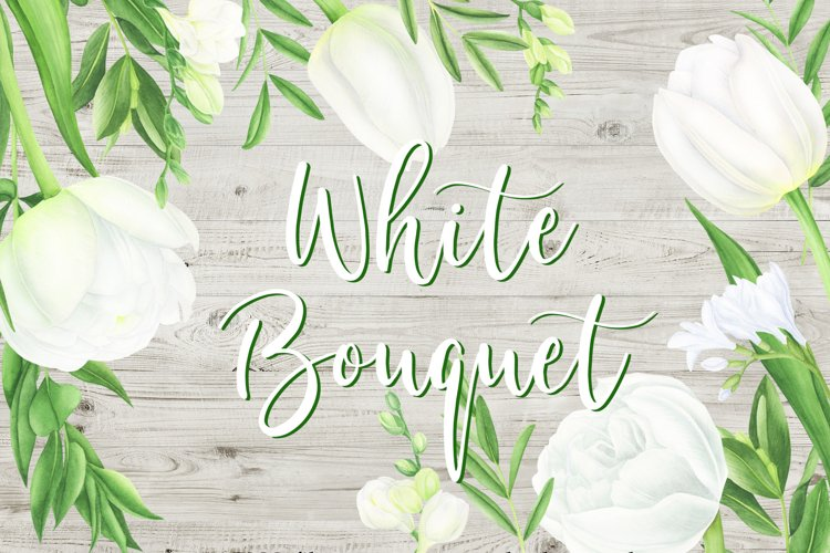 Watercolor white tulips and freesia clipart example image 1
