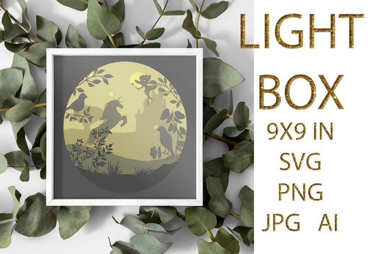 light Box SVG, Shadow Box, UNICORN example image 1