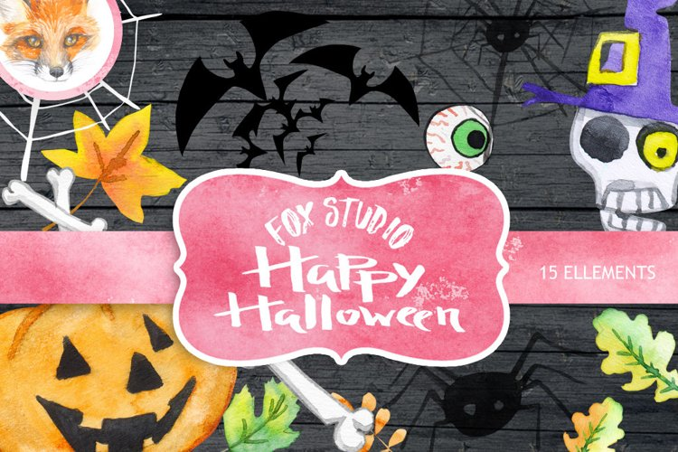 Halloween watercolor clipart, Pumpkin, Autumn leaves, wooden example image 1