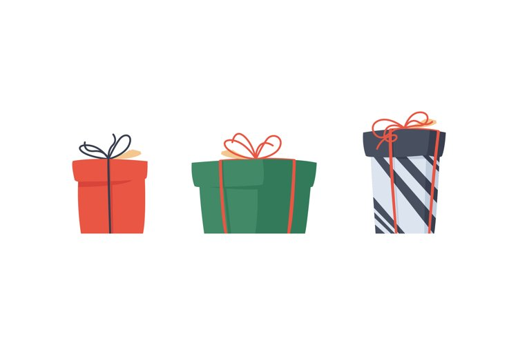Gift present christmas flat set, holiday vector surprise