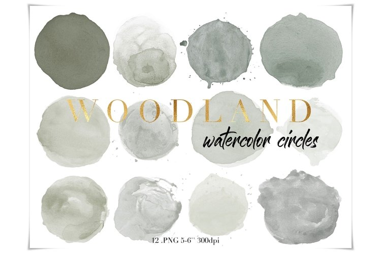 Olive Green Watercolor Circles Clipart