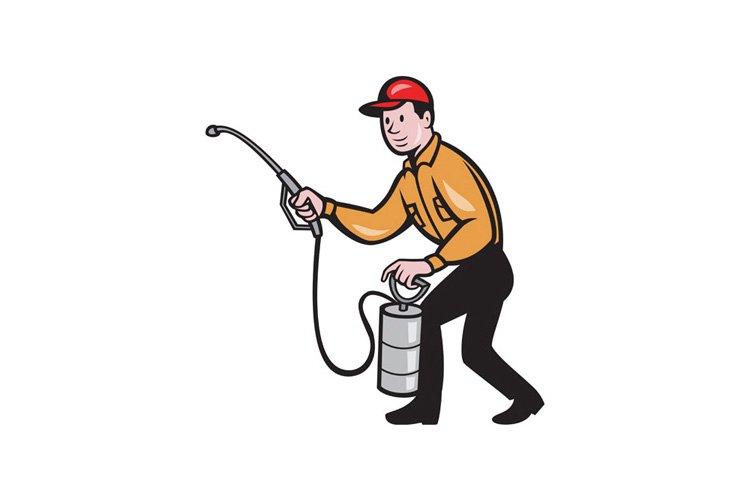 Pest Control Exterminator Worker Spraying Cartoon example image 1