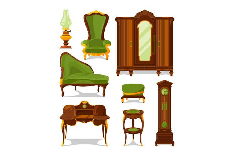 Antique furniture in cartoon style. Vector illustrations iso example image 1