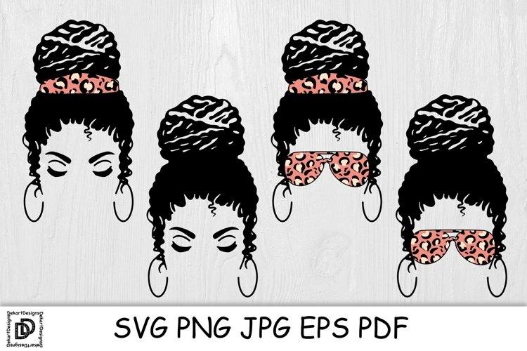 Messy Bun Mom SVG Mom Life Messy Bun Afro Women SVG Cut File example image 1