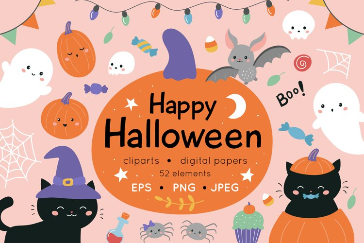 Happy Halloween clipart and patterns set