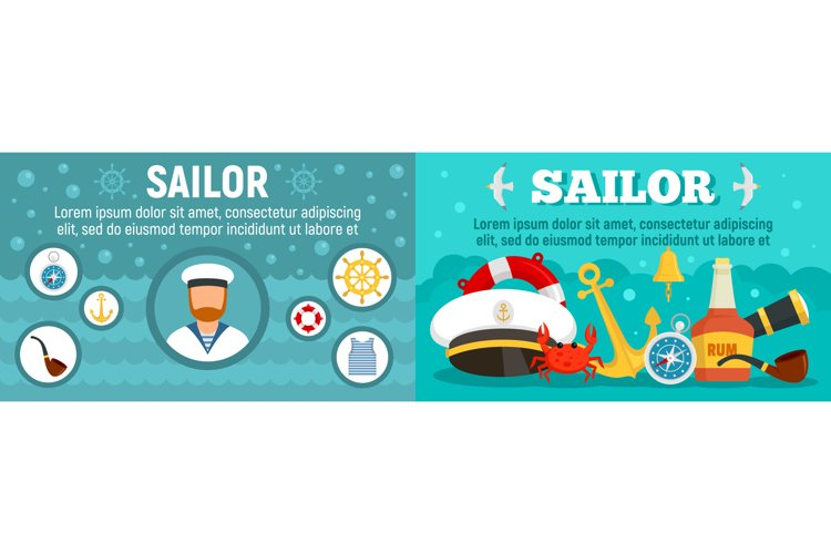 Marine sailor banner set, flat style example image 1