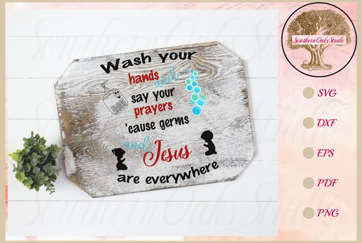 Sign SVG | Wash And Pray Bubbles Reminder Quote example image 1