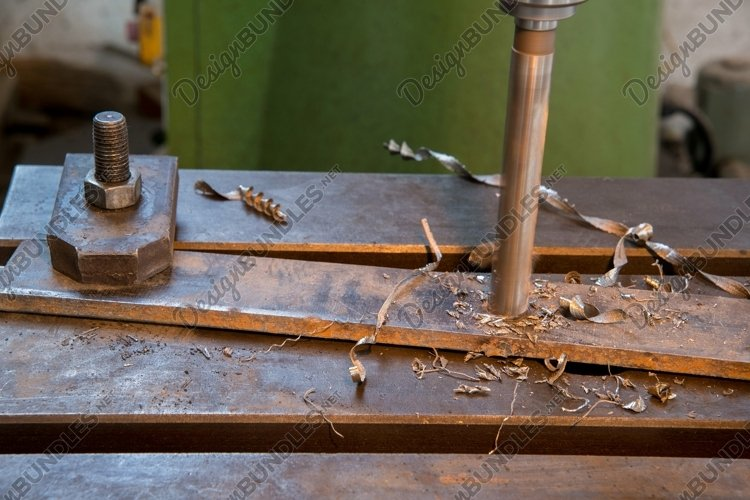 Drilling machine in the working process. Metalworking example image 1