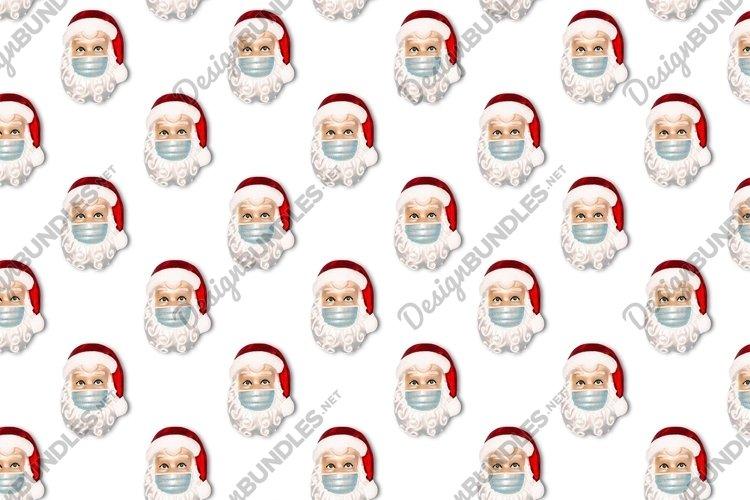 Santa Claus wearing face mask Seamless Christmas pattern example image 1