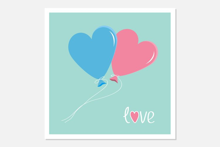 Blue and pink heart shape balloons example image 1