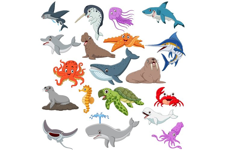 Set of Nineteen Cute Cartoon Ocean Animal example image 1