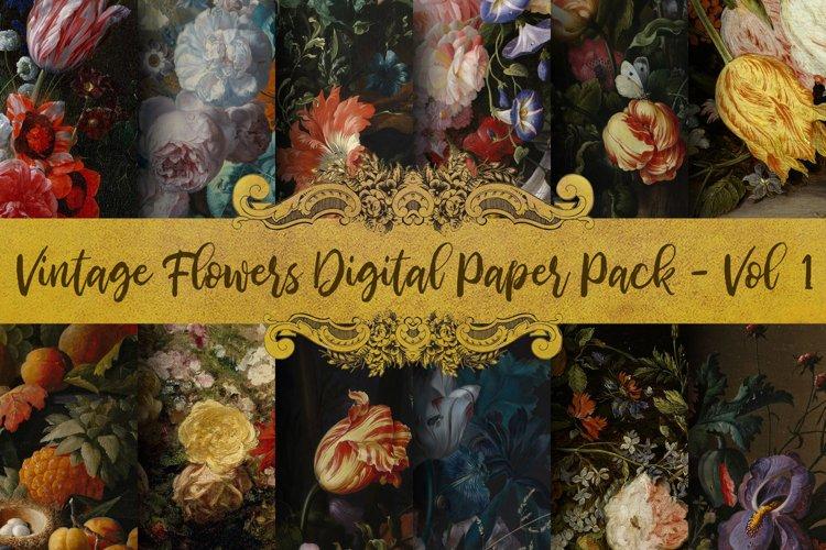 Vintage Flowers Oil Painting Digital Paper - Vol 1 example image 1