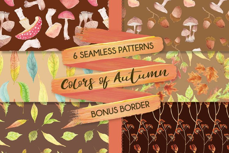 Watercolor patterns in autumn shades
