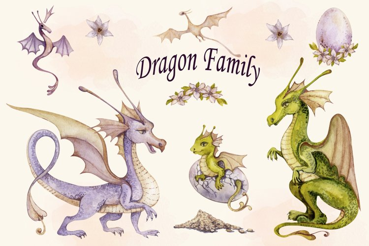 Watercolor Dragon Family Clipart png set, Cute Baby Dragon example image 1