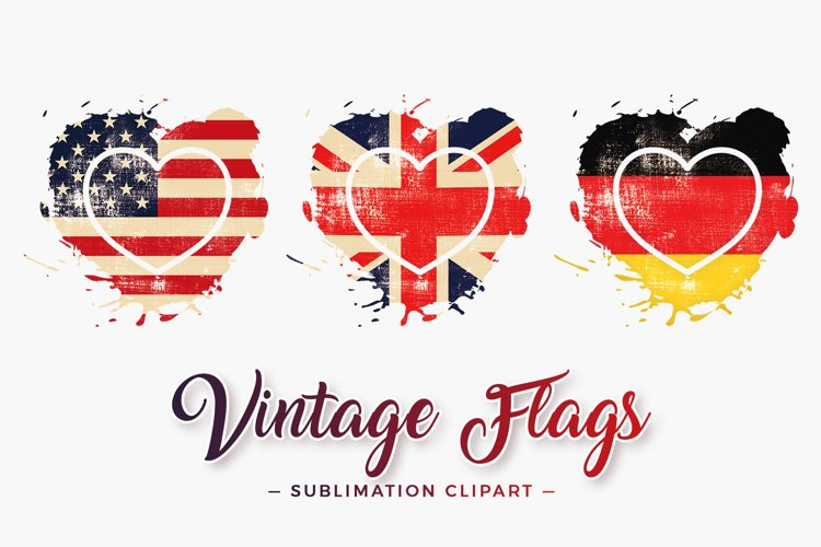 Vintage Flags Heart Splash Sublimation Designs example image 1