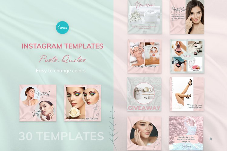 """Instagram posts & quotes, Canva Template """"BEAUTY SILK"""" example image 1"""