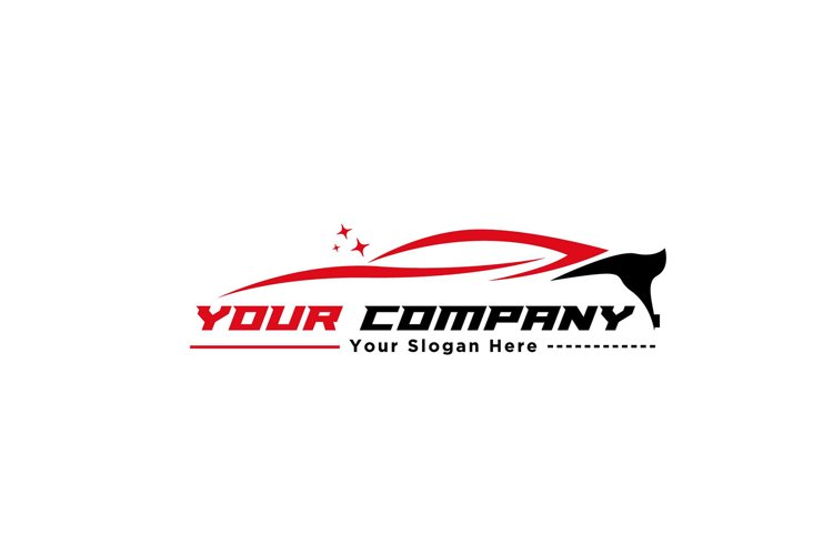 red and black sport car logo design silhouette and line example image 1