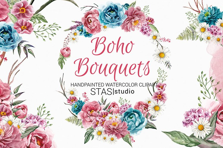 Boho Bouquets Clipart, Watercolor Boho Peony, Hand Painted example image 1
