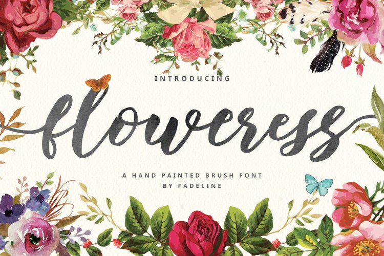 Floweress - Hand Painted Brush Font example image 1