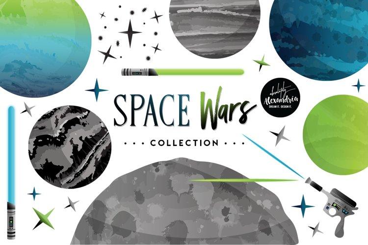 Space Wars Clipart Graphics & Digital Paper Patterns Bundle