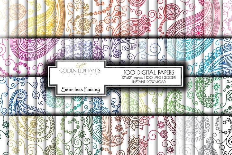 100 Seamless Paisley Digital Paper 767948 Backgrounds Design Bundles