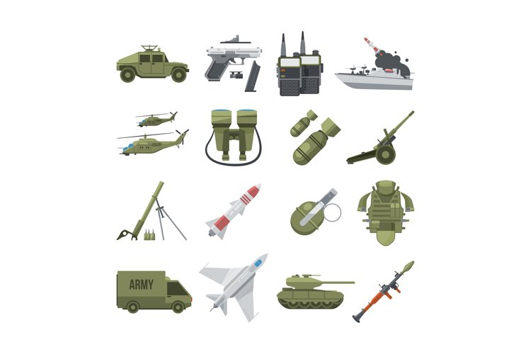 Icon set of different army weapons. Military and police equi example image 1