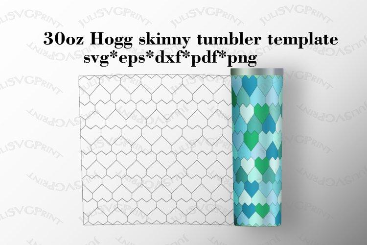 Hearts 30 oz Hogg skinny tumbler template, Tangram svg