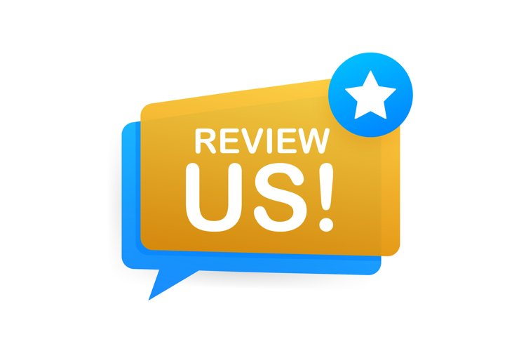 Review us. User rating concept. Review and rate us stars. Bu