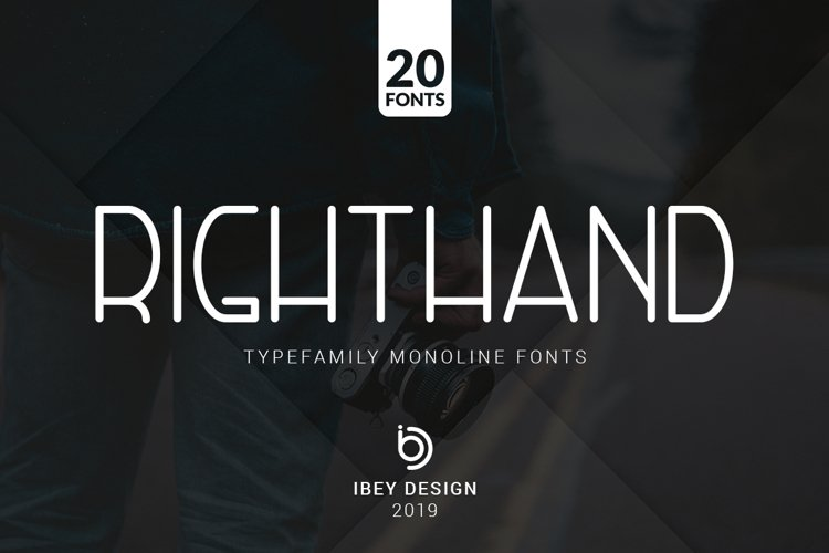 RightHand - 20 Monoline Fonts example image 1