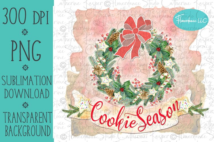 Cookie Season Wreath PNG Christmas Sublimation Design example image 1