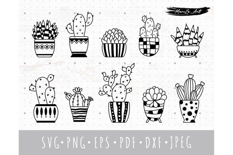 Cactus & Succulent SVG bundle, Potted boho cacti clipart